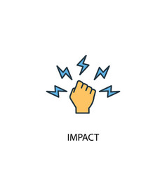 Impact concept 2 colored icon simple blue element vector