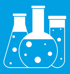 laboratory flasks icon white vector image