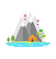 Landscape with mountainslake and camping in flat vector