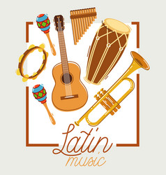 Latin music band salsa flat poster isolated over vector