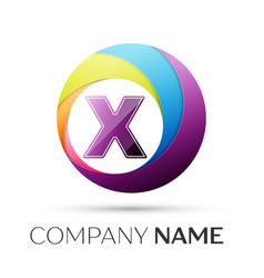 Letter x logo symbol in the colorful circle on vector