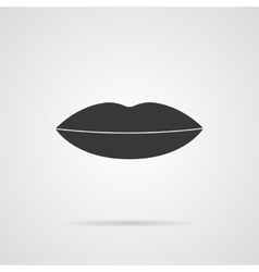 Lips Grey Icon with Shadow vector image