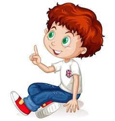 Little boy pointing up vector image
