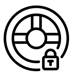 Locked steering wheel icon outline style vector