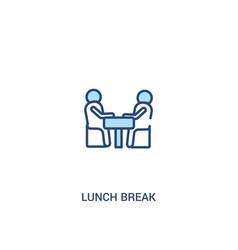 Lunch break concept 2 colored icon simple line vector