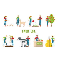 man and woman doing farm work gardening vector image