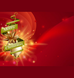 merry christmas ribbon background vector image