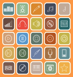Music line flat icons on orange background vector image