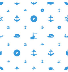 nautical icons pattern seamless white background vector image