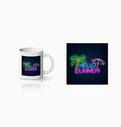 Neon happy summer print with lettering palm tree vector