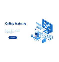 online training 3d lp template 2 vector image