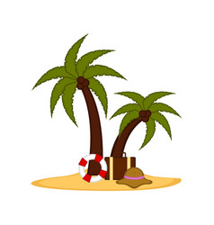 palm trees with a lifesaver and a travel suitcase vector image