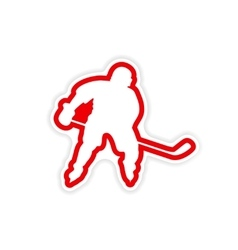 Paper sticker Canadian hockey player on white vector