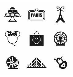 paris icon set vector image