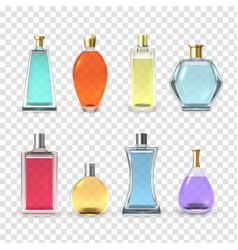 perfume bottles set aroma and fragrance vector image