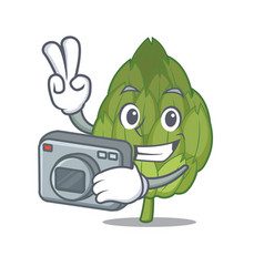 photographer artichoke mascot cartoon style vector image