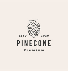 pine cone hipster vintage logo icon vector image