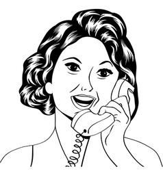 Pop art lady chatting on phone vector