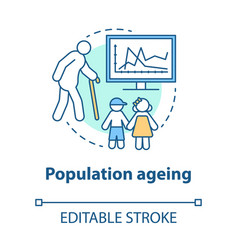population ageing concept icon elderly people vector image