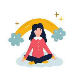 Positive young girl sitting on a cloud vector