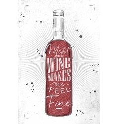 Poster meat and wine vector image
