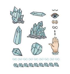 Quartz crystal magic hand drawn icon vector