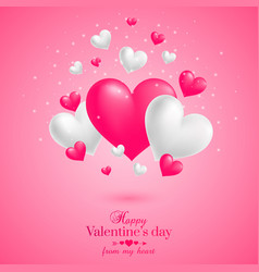 realistic floating 3d valentine hearts background vector image