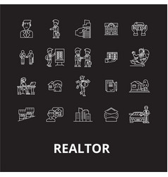 realtor editable line icons set on black vector image