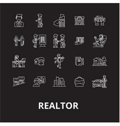 realtor editable line icons set on black vector image