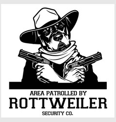 Rottweiler dog with glasses two pistols and cigar vector