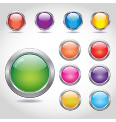 Round blank web buttons with metal rings vector