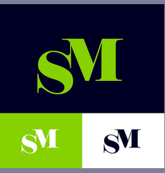 S and m monogram letters combined vector