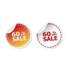 sale stickers 60 percent off on white background vector image