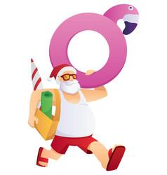 santa going to beach vector image