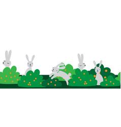 seamless bunny border cute vector image
