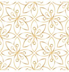 seamless linear golden flower pattern on white vector image