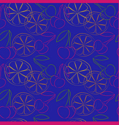Seamless pattern with outline cherries and lemon vector