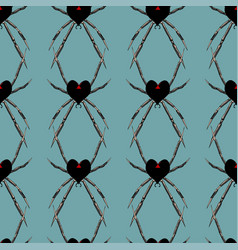 seamless pattern with spider black heart widow vector image
