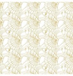 Seashells seamless pattern Gold vector