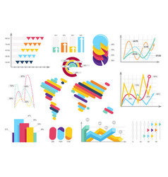 set elements of infographics info bars graphycs vector image