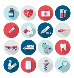 set medical healthcare flat icons vector image