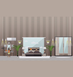 set of bedroom flat style design elements vector image