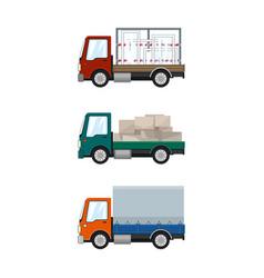 Set of cargo trucks vector