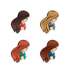 set of cute girls with different color hand drawn vector image