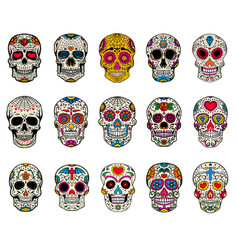 set of sugar skulls dead day dia de los muertos vector image