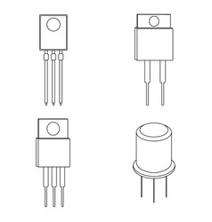set of transistor outline icon vector image