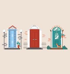 Set of vintage front doors vector