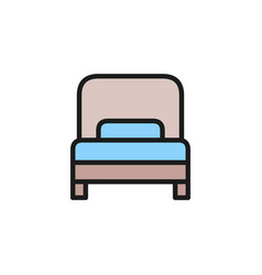 single bed hotel room flat color line icon vector image