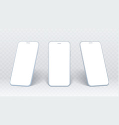 smartphone side view set white mobile phone vector image
