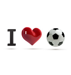 soccer or football ball and red heart vector image vector image